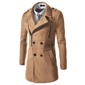 Men Coat Double Breasted Overcoat