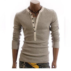 Men Pure Color Fashion V-Neck Long-Sleeved Slim T-Shirt