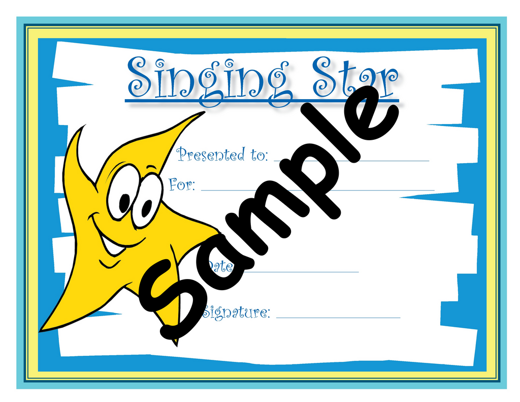 Singing Star Certificate Themes And Variations Usa