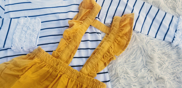 Golden Yellow Corduroy Ruffle Strap Skirt