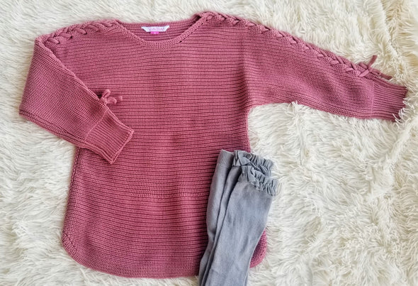 Mauve Lace up Sleeve Sweater