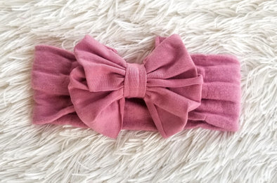 Vintage Mauve Big Bow Headband