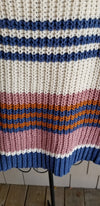 Oversized Blue, Orange, and Pink Stripped Knitted Sweater for online boutique