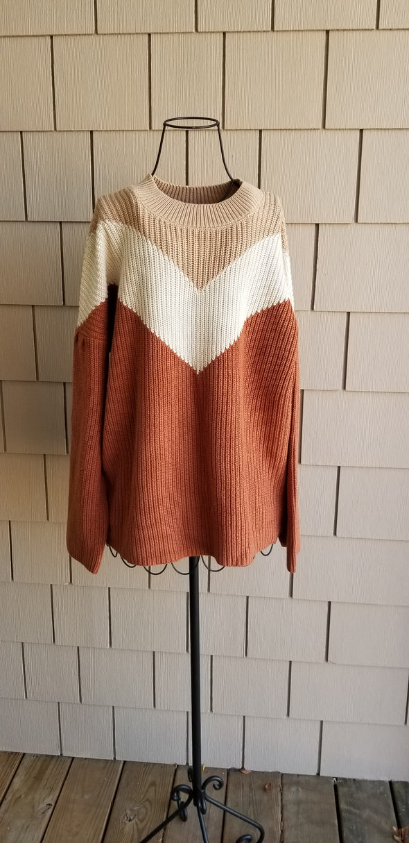 Oversized Orange and Cream Knitted Sweater