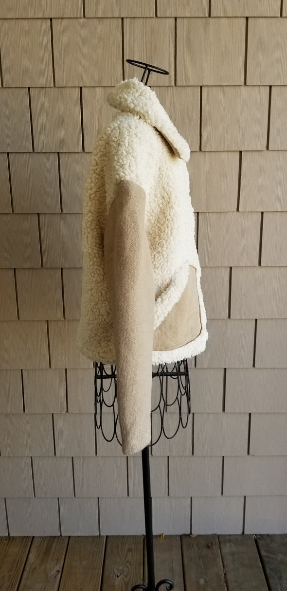 cream and beige Sherpa jacket with suede sleeves and a Sherpa collar for online boutique
