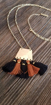 Gold Chain Black and Brown Fringe Square Necklace
