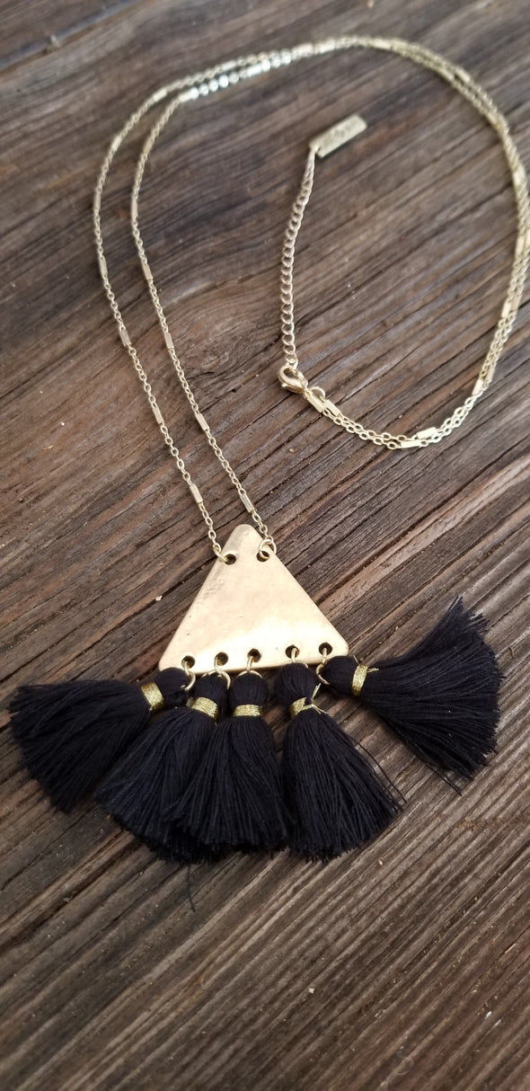 Pyramid Gold Metal Chain Necklace with Black Tassel Fringe
