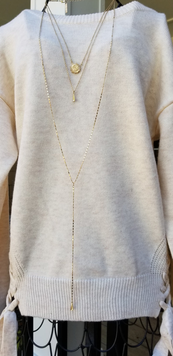 The Rising Sun Gold Drop Three Chain Necklace