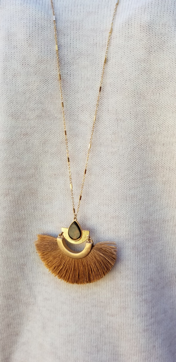 Eye of the Tiger Camel and Gold Fan Necklace