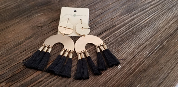 Gold Metal and Fringe Earrings