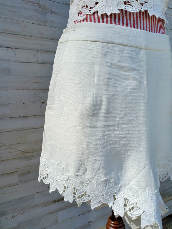 White Jaffa Lace Trim Shorts