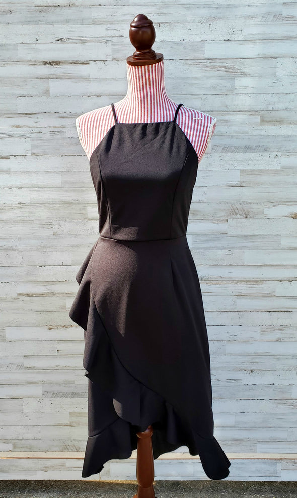 Miss Executive Black Ruffle Cocktail Dress