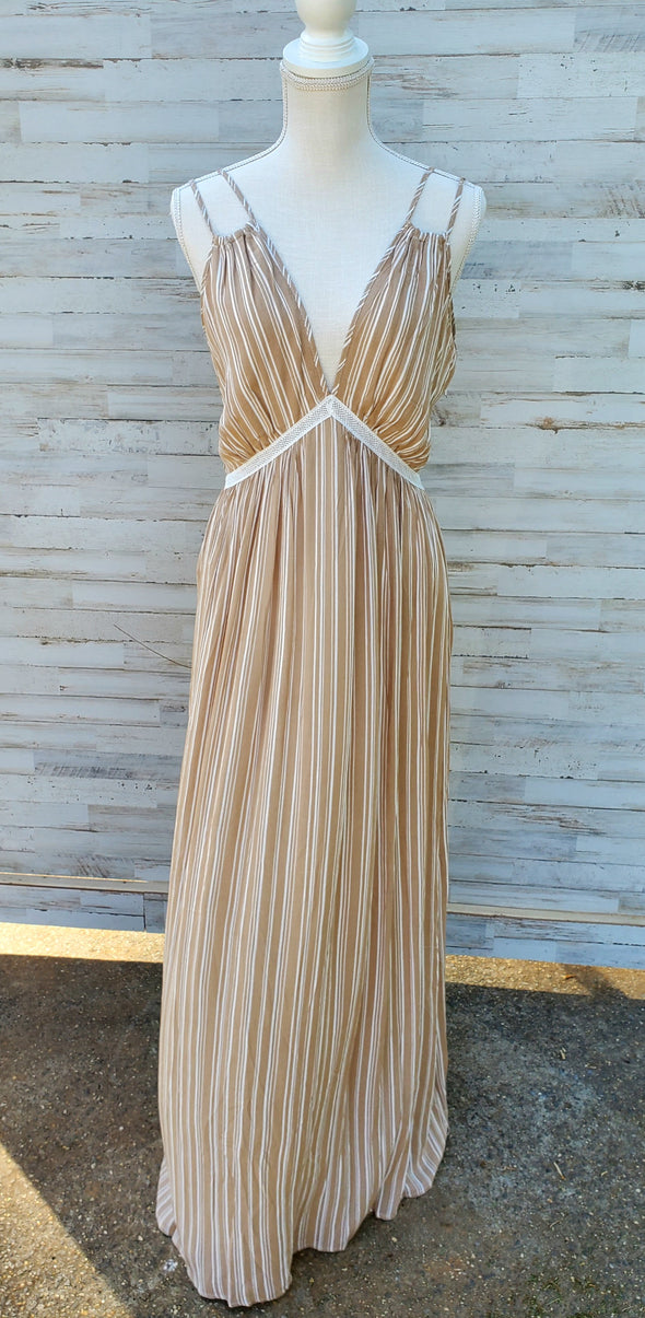 Beige Stripe up the Band Dress
