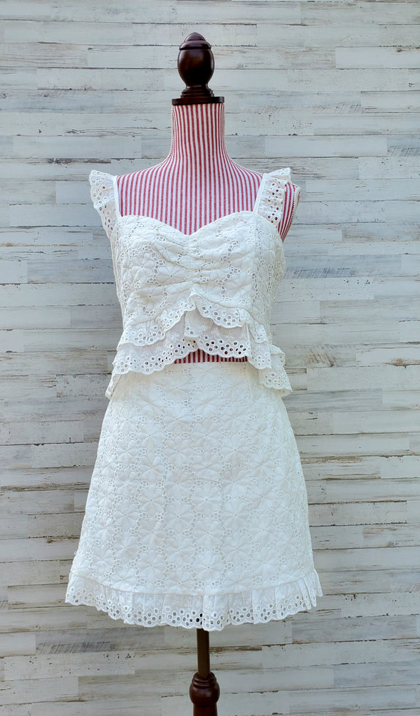 White Cosmic Love Crochet Ruffle Skirt