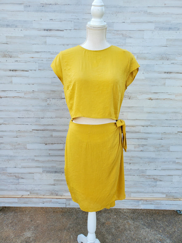 Sunny Day Yellow Faux Two Piece Dress