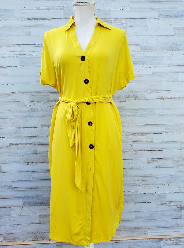 Yellow Short Sleeved Safari Button Up Dress