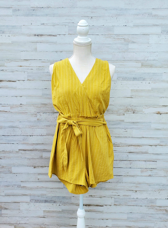 Honey Surplice Stripe Romper