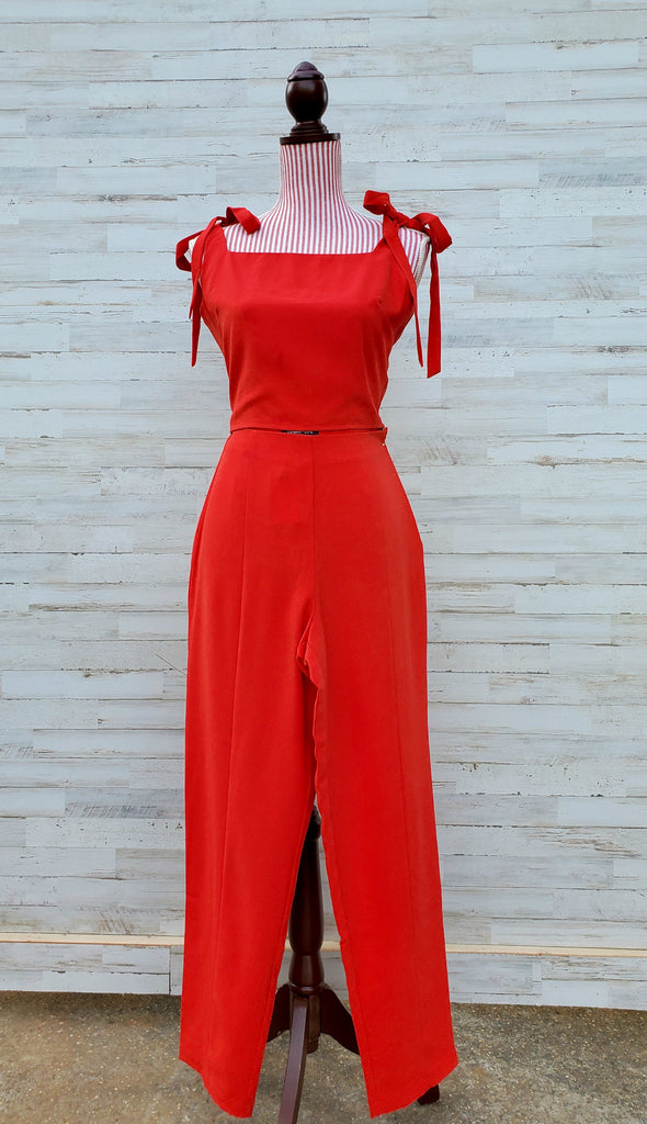 Red All Night High Waisted Pants and All Night Shoulder Tie Crop Top (SET)