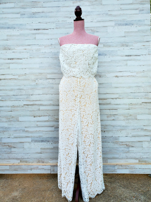 Ivory Lust For Life Strapless Lace Jumpsuit