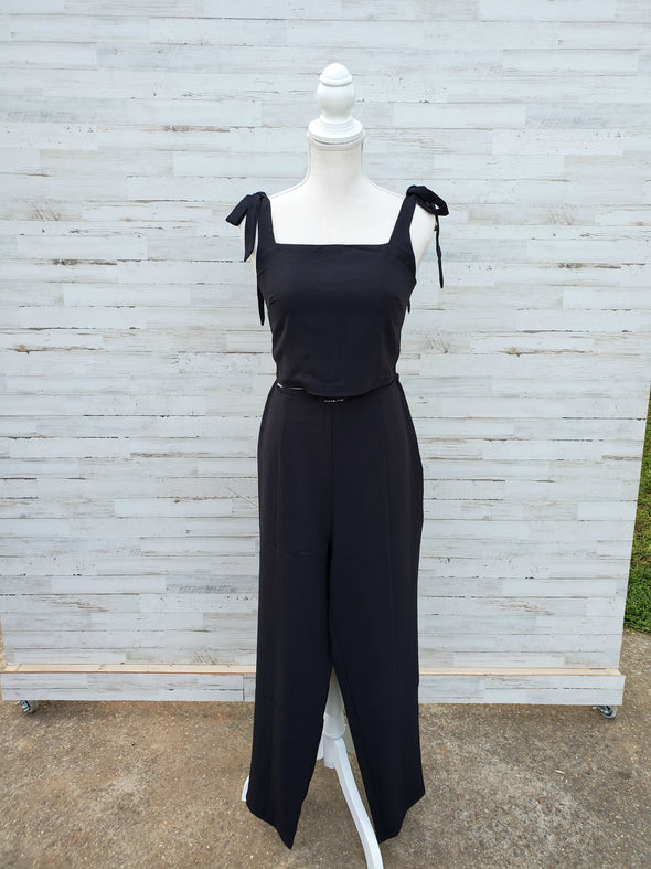 All Night High Waisted Pants and All Night Shoulder Tie Crop Top (SET)