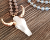 Western Steer Head Beaded Necklace