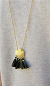 Pyramid Shaped Olive Fringe Gold Metal Necklace