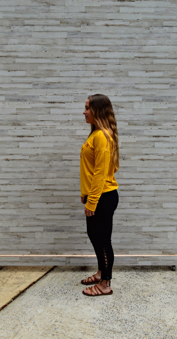 Kickin' it with mini mustard pullover