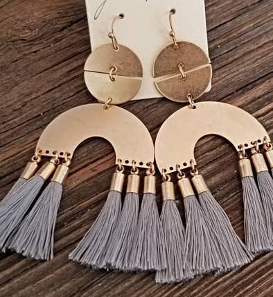 Grey to Meet You Gold Metal and Fringe Earrings