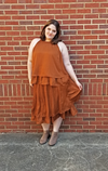 rust burnt orange colored tiered flowly pleated skirt plus size