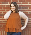 rust burnt orange colored tiered flowly halter top plus size