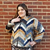 chevron plus size blue camel cream colored faux fur jacket