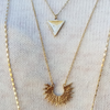 Arrow Head and Sun Gold Three Chain Necklace