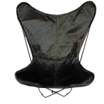 | EDDIE | - JET BLACK COWHIDE BUTTERFLY CHAIR.