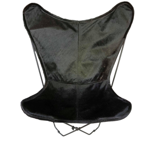 JET BLACK COWHIDE BUTTERFLY CHAIR - Lux & Hide