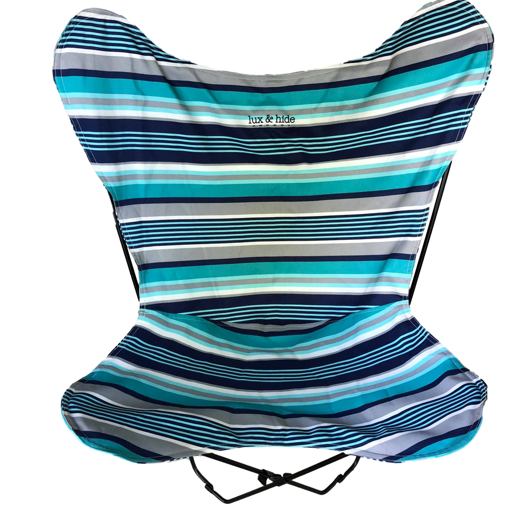 WATERPROOF CANVAS BUTTERFLY CHAIR - BLUE SHADES.