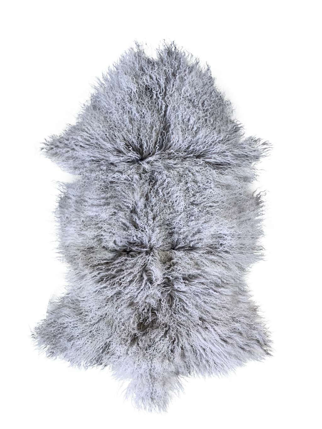 MONGOLIAN SHEEPSKIN | GREY W/ WHITE TIPS