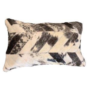 COWHIDE PATCHWORK CUSHION | GUNMETAL GREY + WHITE SPECKLE