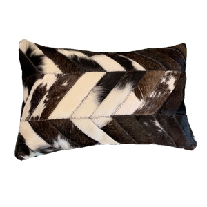 COWHIDE PATCHWORK CUSHION | BLACK + WHITE