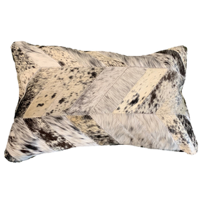 COWHIDE PATCHWORK CUSHION | BLACK + WHITE SPECKLE
