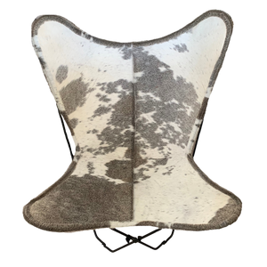 GREY + WHITE COWHIDE BUTTERFLY CHAIR - Lux & Hide