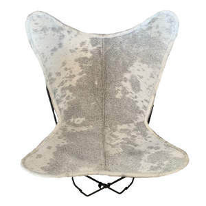GREY + WHITE COWHIDE BUTTERFLY CHAIR