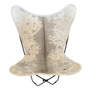 | MAGGIE | - GREY + WHITE COWHIDE BUTTERFLY CHAIR