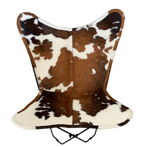 BROWN + WHITE COWHIDE BUTTERFLY CHAIR