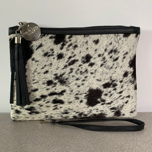 COWHIDE EVERYDAY SMALL CLUTCH - BLACK + WHITE SPECKLE. - Lux & Hide
