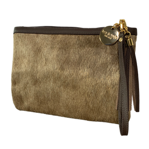 COWHIDE EVERYDAY SMALL CLUTCH - DARK CHAMPAGNE.
