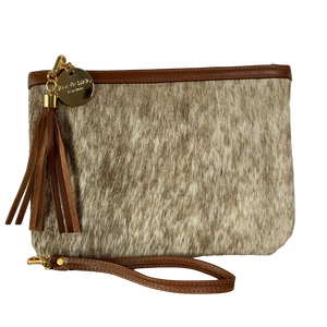 COWHIDE EVERYDAY SMALL CLUTCH - LIGHT BROWN SPECKLE + WHITE. - Lux & Hide