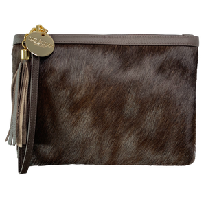 COWHIDE EVERYDAY SMALL CLUTCH - CHOC BROWN. - Lux & Hide