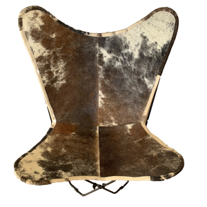TAN GREY COWHIDE BUTTERFLY CHAIR