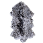 MONGOLIAN SHEEPSKIN | CHARCOAL W/ WHITE TIPS