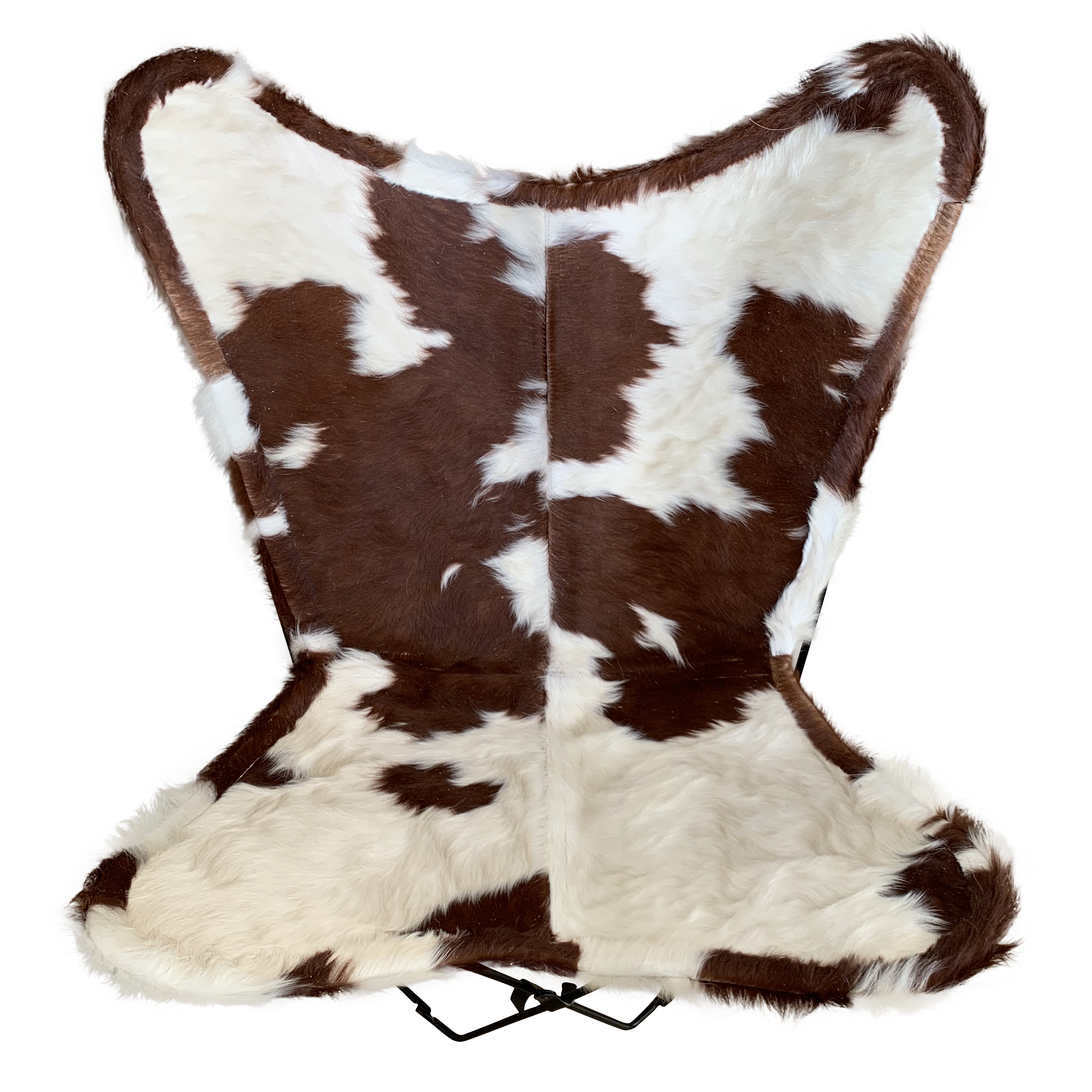 BROWN + WHITE CURLY COWHIDE BUTTERFLY CHAIR - Lux & Hide